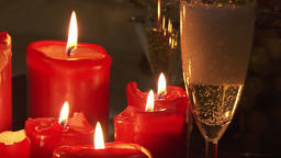 spa candle light romantic background with glass of champagne Live Action