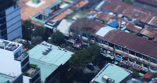 A high angle view of miniature cityscape at the downtown in Ho Chi Minh daytime Live Action
