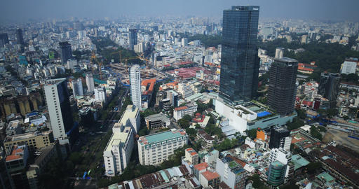 A high angle view of panoramic cityscape at the downtown in Ho Chi Minh daytime Live Action