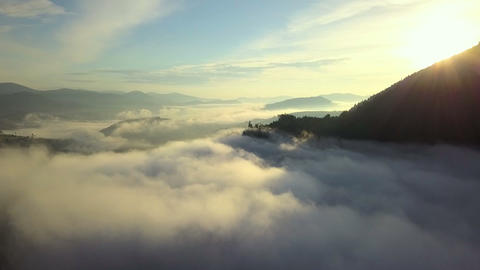 Flight over mountains with forests. Sunrise. Carpathian Mountains, Ukraine, Europe Live Action