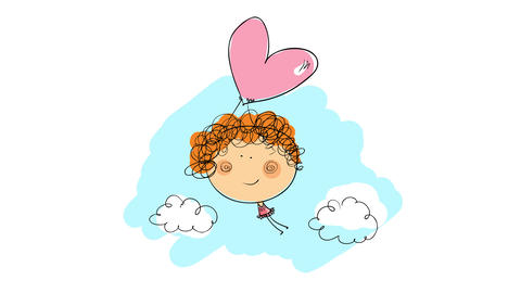 sweet valentines day card cover with cute curly haired girl with long legs holding up to a heart Animation