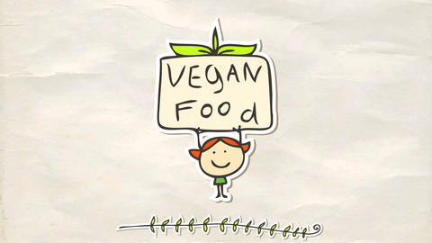 words vegan food coming together on a sign that a little redhead girl holds above her head with Animation