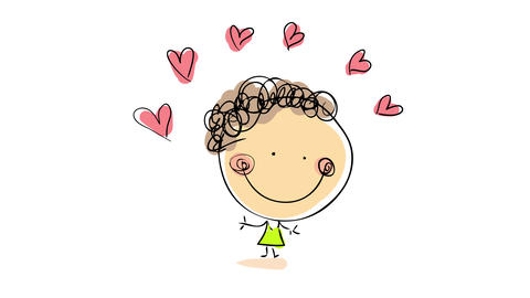 beautiful happy girl wearing green lemon dress represents her romantic personality with a set of Animation