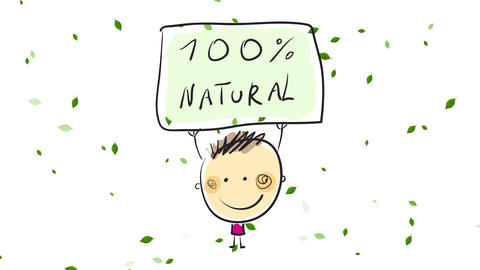 boy holding a sign in favor of the massive use of 100 percent natural products such as shampoo or Animation