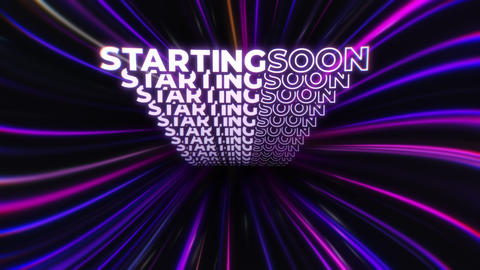 Animated STARTING SOON Message in Pink Lines Tunnel - Screen for Video Streaming Services Animation