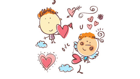 valentines day greeting card for email with a sweet little angel giving a boy in love a a red heart Animation