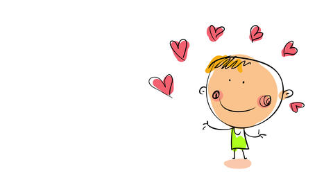 tanned young man doing a performance with many small hearts representing the magic of love and how Animation
