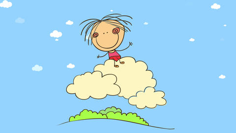 colorful scene of happy young kid with pink outfit flying on a white padded cloud over a blue sky Animation