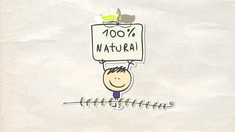 animated sticker of a little boy holding a 100 percent natural sign stuck over recycled paper Animation