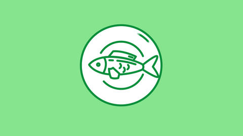 Fish line icon on the Alpha Channel Animation