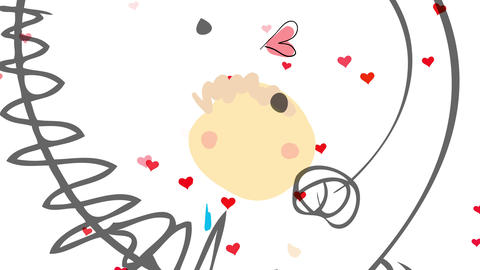 boy turning around to the center of the screen with red hearts appearing and disappearing in the Animation