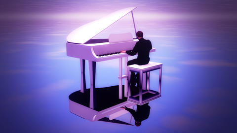 Man Playing Piano under the Sky - 3 Loopable Shots - Background Animation