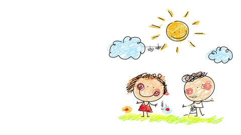 boy and girl joyfully running on a garden with beautiful colorful flowers under a bright happy sun Animation
