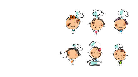 six chefs of diverse backgrounds all modeling with different poses for a professional group picture Animation