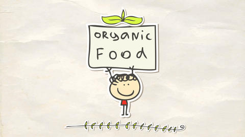 tiny happy boy with red shirt almost getting smashed by a big organic food poster he holds Animation