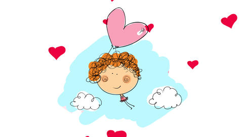 curly haired girl floating up through the blue cloudy sky held to a shiny heart balloon with tiny Animation