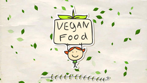 little sticker of girl with red hair lifting a vegan food sign representing all people that love to Animation