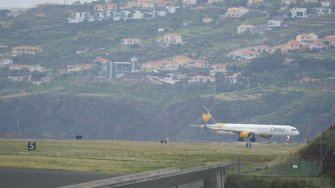 4K Amazing Madeira Airport Scenario with Airplane Boeing B757 Parked Live Action