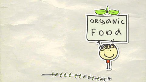 animated poster for organic food with sticker of joyful little boy lifting proudly a sign supporting Animation