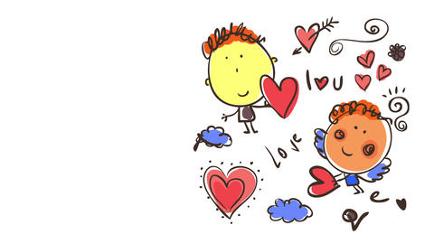 i love you card for valentines day with cute little drawings of cupids holding hearts between clouds Animation
