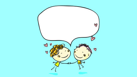 cute drawing of two lovers about to kiss each other with a speech balloon above their heads with Animation