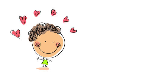 drawing of girl in love with hearts above her head forming with color entering the screen from the Animation