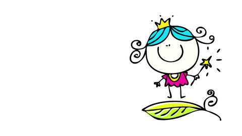 happy little fairy making magic with a wand jumping on a green leaf helping farmers to thrive in Animation