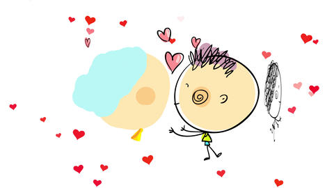 white background full of flickering red hearts behind a cute young couple joining their faces to Animation
