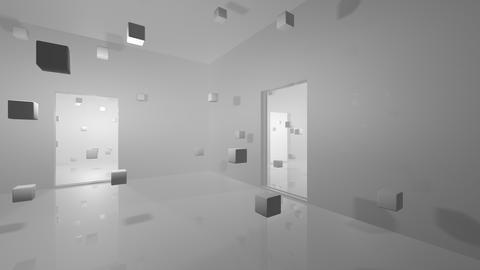Abstract interior filled with cubes, movement Animation