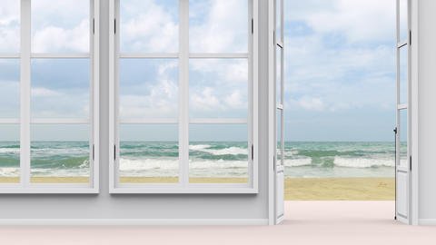 House with sea view, large window and sea beach view Animation