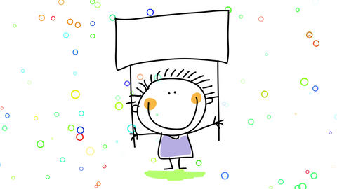 kid holding a blank sign above his head over a background with multicolored bubbles floating around Animation