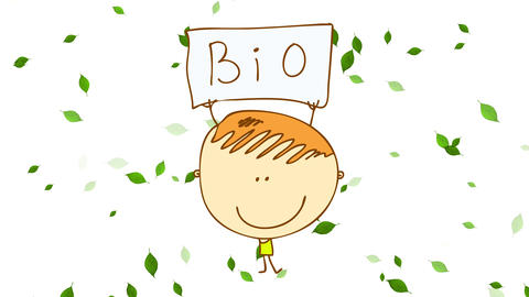 bio products promotion campaign for business selling food with a kid holding up poster on a Animation
