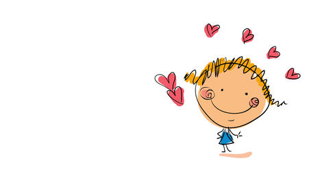 isolated blond girl in the right side of the screen with hearts painted outside the outline Animation