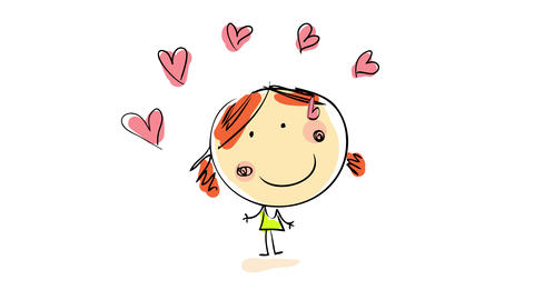 happy innocent girl making an arch of hearts float above her head suggesting she has the power to Animation
