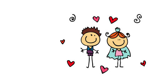 just married young couple wearing small outfits demonstrating love for each other with red hearts Animation