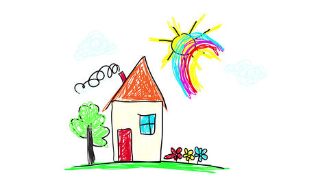modest house on a rainy and sunny day creating a beautiful rainbow above it with a tree and flowers Animation