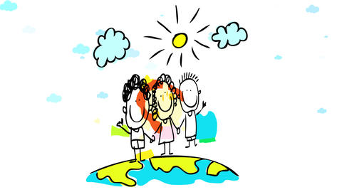 two boys and a girl waving and holding hands transmitting positive attitude walking on a globe Animation