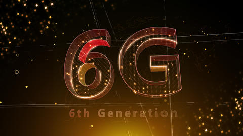 6G Digital Network technology 6th generation mobile communication concept background 3 F2 red 4k Animation