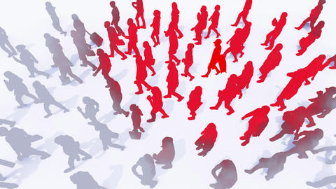 Virus COVID-19 infection spread from man to crowd 3D concept Animation