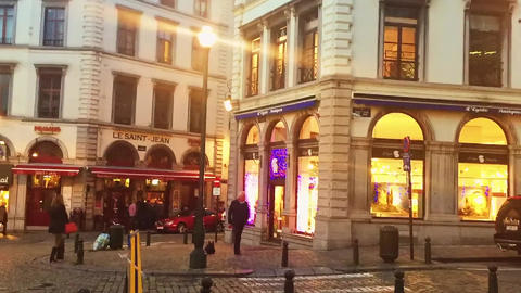 Historical buildings in the city center in the evening, travel and sightseeing Live Action