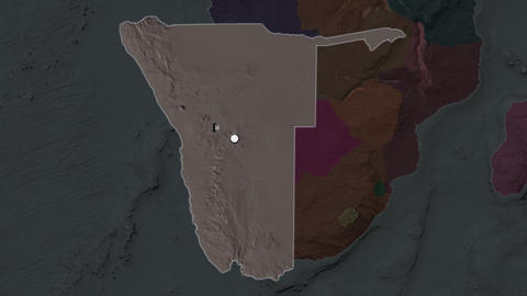 Namibia and capital circled and zoomed. Administrative Animation