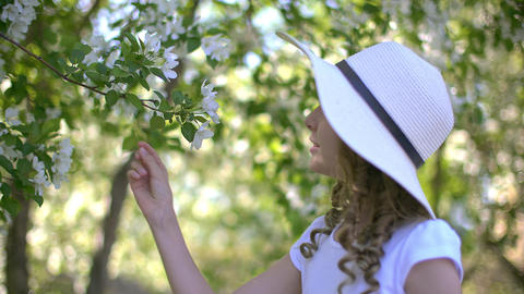 Romantic girl sniffing flowering apple tree in spring garden at sunny day GIF