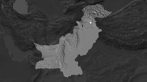 Pakistan and capital circled and zoomed. Bilevel Animation