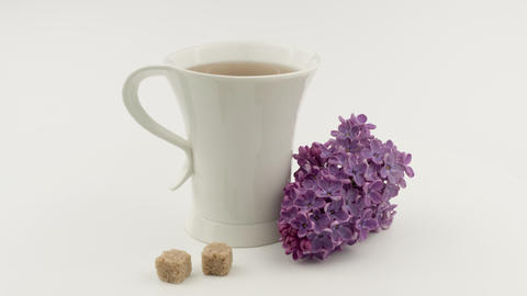 Tea Cup, brown sugar and purple lilacs. White background Live Action