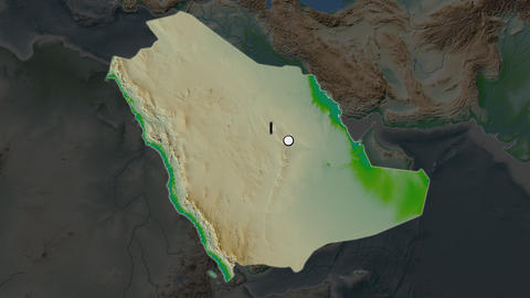Saudi Arabia and capital circled and zoomed. Physical Animation