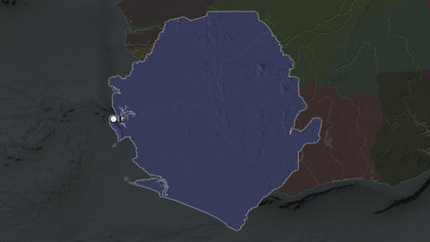 Sierra Leone and capital circled and zoomed. Administrative Animation