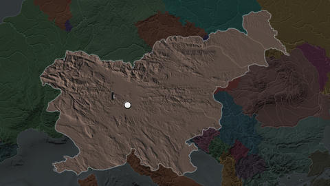 Slovenia and capital circled and zoomed. Administrative Animation