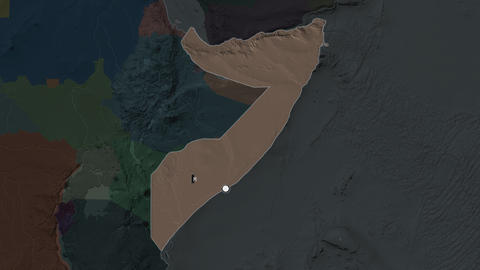 Somalia and capital circled and zoomed. Administrative Animation