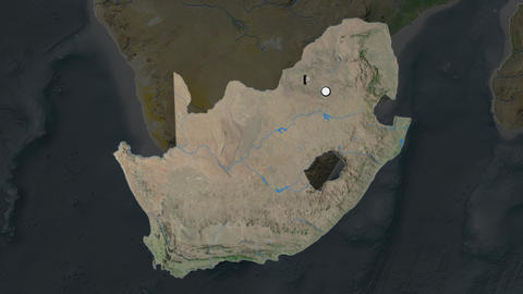 South Africa and its capital circled and zoomed on the global satellite map Animation