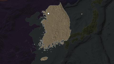 South Korea and capital circled and zoomed. Administrative Animation
